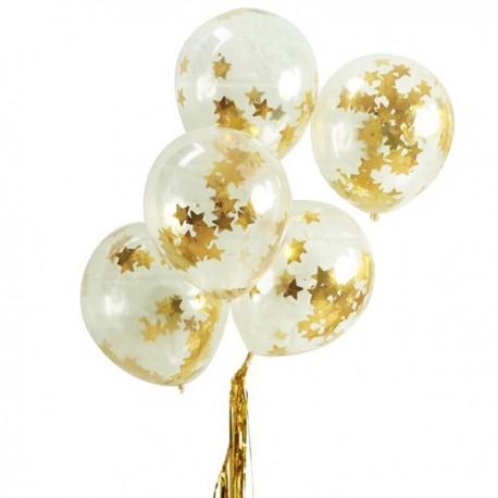 Confetti Ballons Gold Star - SOFORT VERFÜGBAR