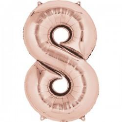 Folienballon 8 rosé - SOFORT VERFÜGBAR
