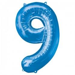 Folienballon 9 blau - SOFORT VERFÜGBAR