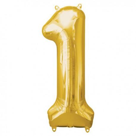 Folienballon 1 gold - SOFORT VERFÜGBAR