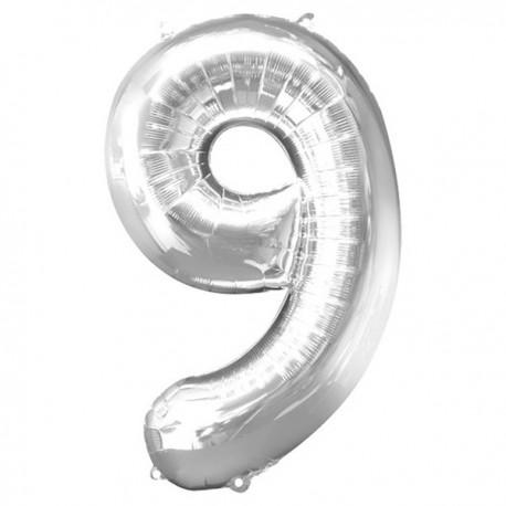 Folienballon 9 silber - SOFORT VERFÜGBAR