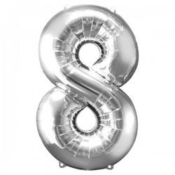 Folienballon 8 silber - SOFORT VERFÜGBAR
