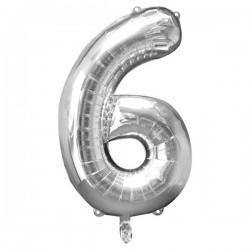 Folienballon 6 silber - SOFORT VERFÜGBAR