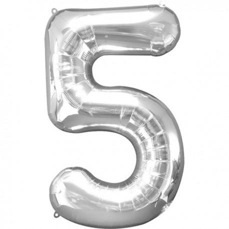 Folienballon 5 silber - SOFORT VERFÜGBAR